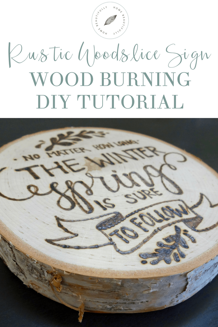 DIY Woodburning Tutorial Rustic Woodslice Sign