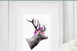 Rustic, Floral Exclusive Deer Art Print from Lofty and Me