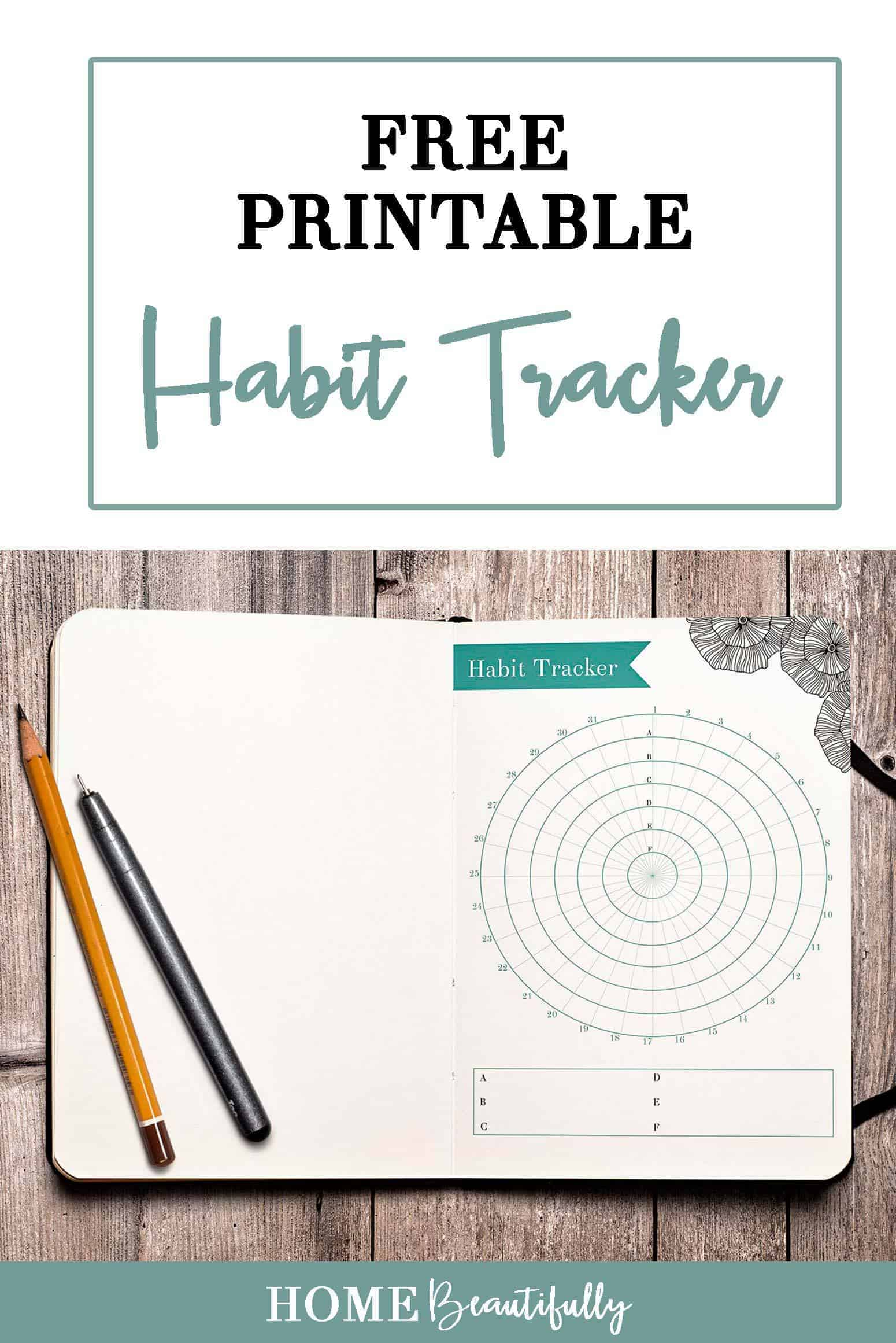 Habit tracke in a journal on a wood background