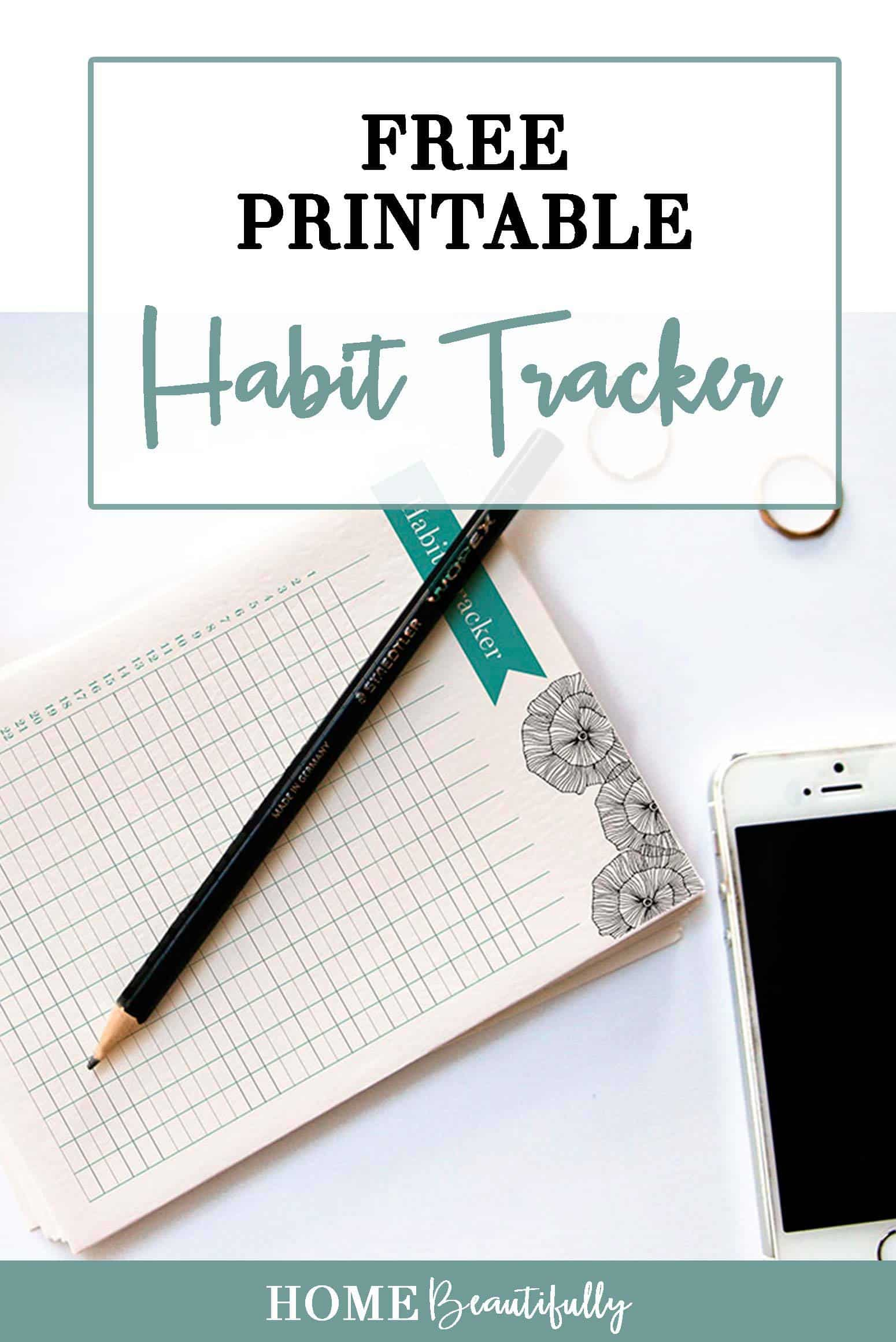 Printable habit tracker journal with pencil on a white background