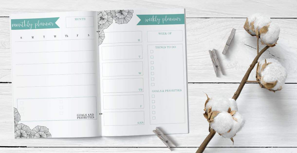 monthly and weekly planner printable on a white wood background