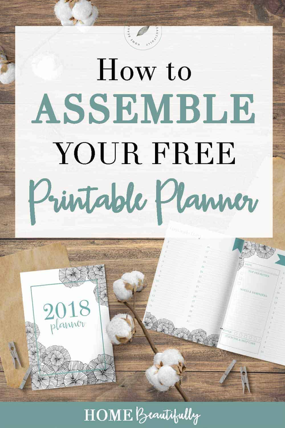 free printable 2018 custom planner on a wood rustic background with cotton stems and kraft paper