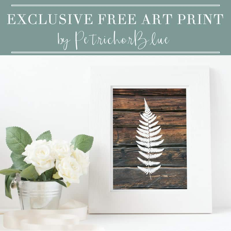 PetrichorBlue Wooden Fern Print Downloadable Printable