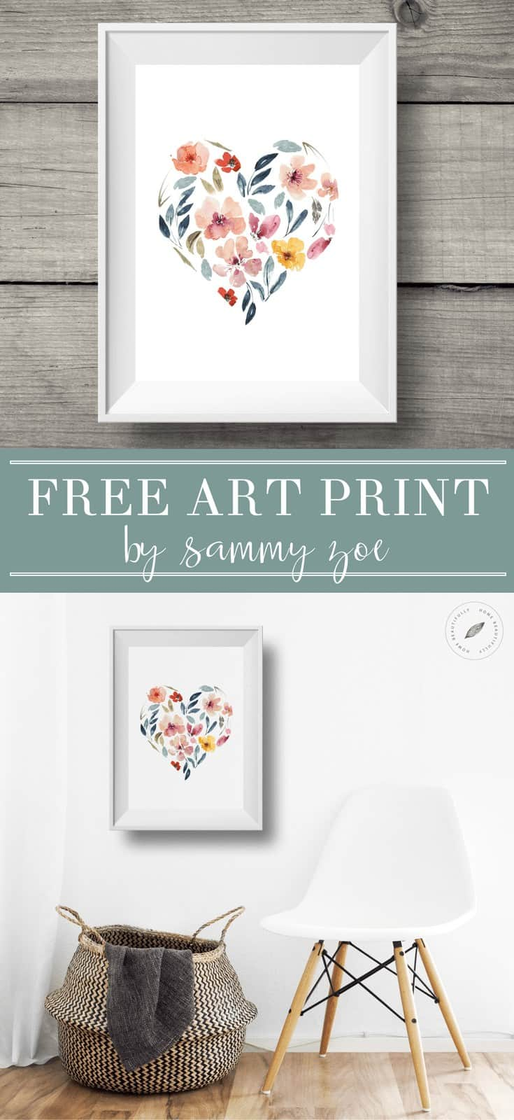 Sammy Zoe Illustration Free Art Print Watercolor Heart! Grab this beautiful printable and enjoy your free art print.