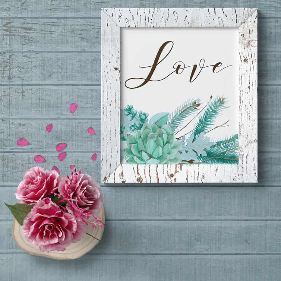 Love art print in a rustic frame with a succulent