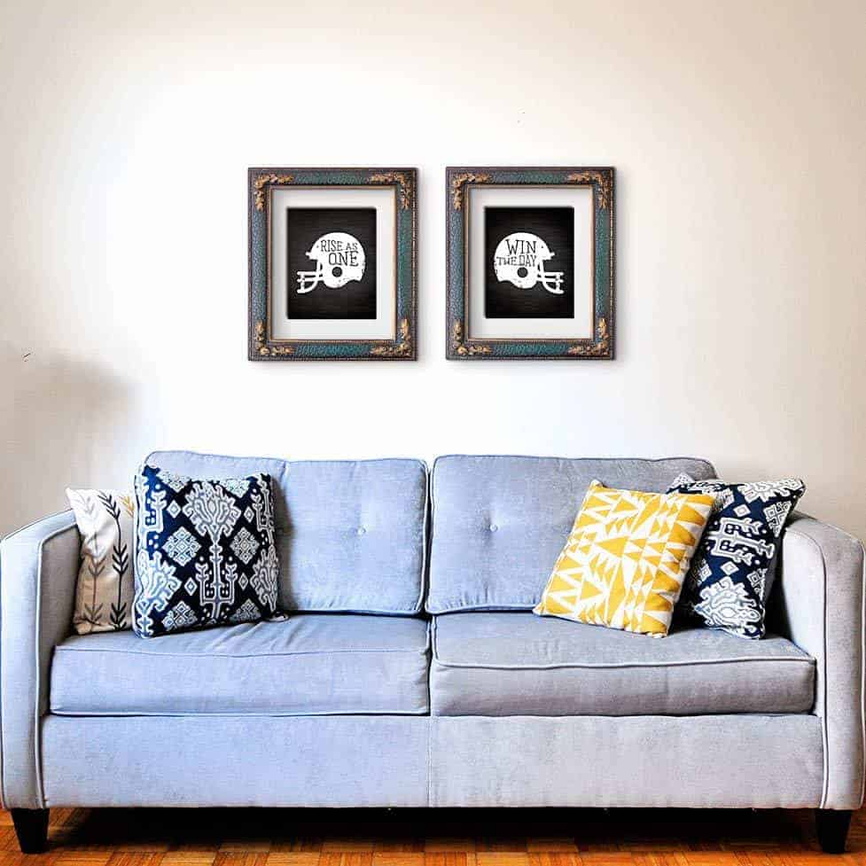 Football and Super Bowl Decorations with Vintage Football Art Above a Couch